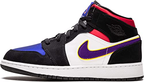 amazon com jordan nike air 1 mid se gs kids black royal blue red bq6931 005 basketball jordan nike air 1 mid se gs kids black royal blue red bq6931 005