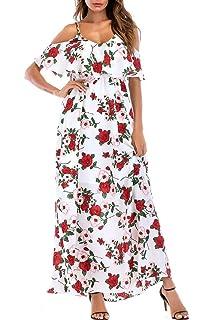 c5c7f960395f SUNNOW Women's Ruffle Cold Shoulder Floral Summer Spaghetti Strap Maxi Long  Dress