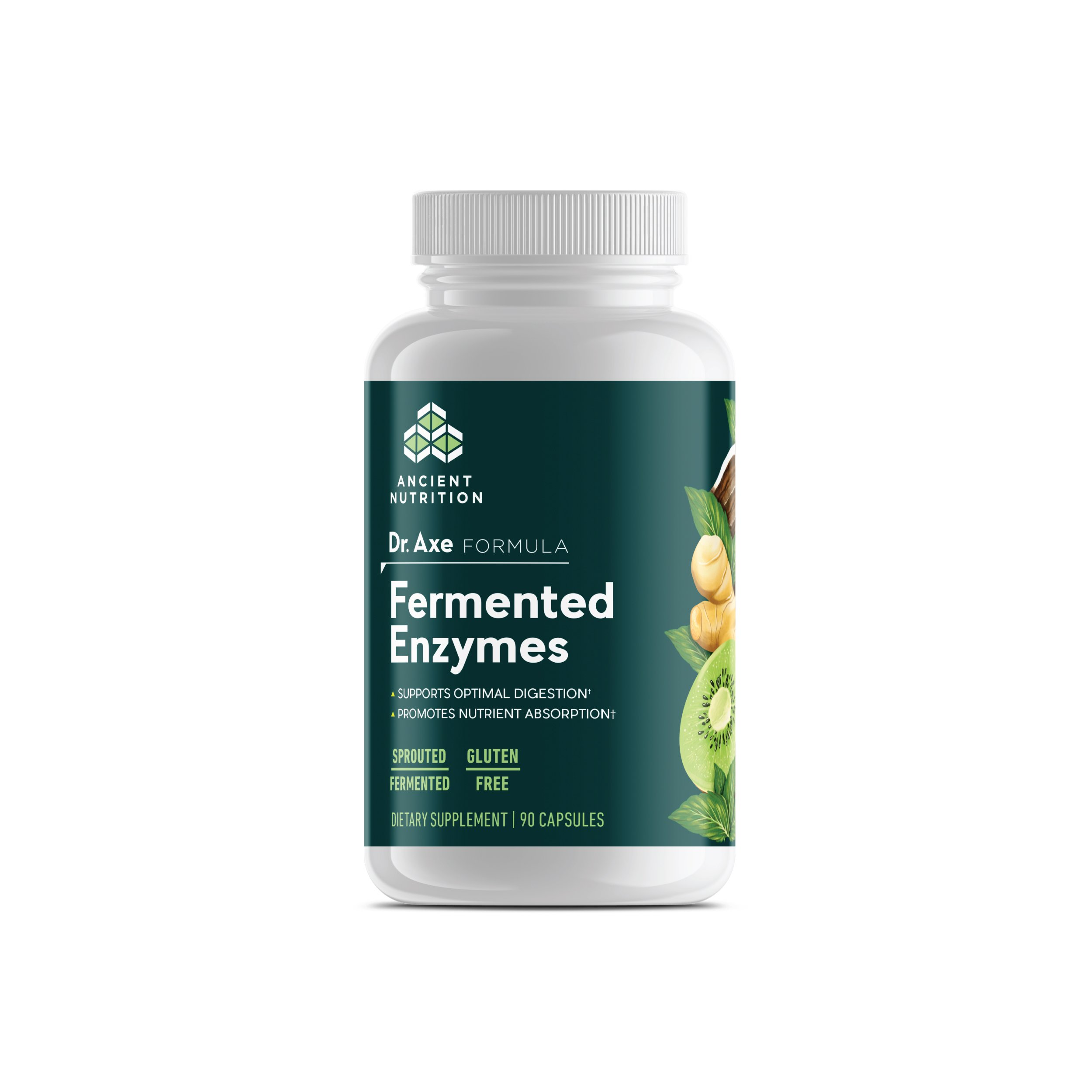 Ancient Nutrition Fermented Enzymes, 90 Capsules — with Enzymes and Probiotics to Support Overall Digestive Health — Dr. Axe Formula