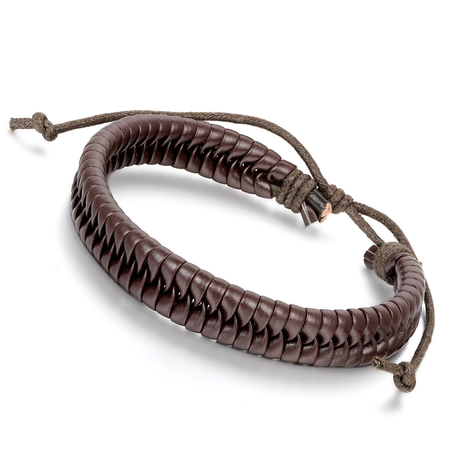 Flongo Men's Womens Adjustable Brown Surfer Leather Braided Link Bracelet, Fit 7-10.5 Inch Wrist