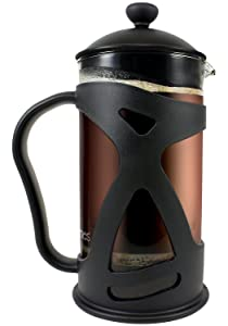 KONA French Press Coffee Press Maker With Reusable Stainless Steel Filter, Large Comfortable Handle & Glass Protecting Durable Black Shell