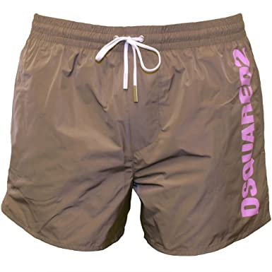 5b46a9d27b DSquared2 Sports Logo Men's Swim Shorts, Taupe X-Large: Amazon.co.uk ...
