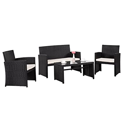 Cloud Mountain 4 Piece Wicker Rattan Furniture Set Patio Conversation Set  Outdoor Garden Lawn PE Rattan