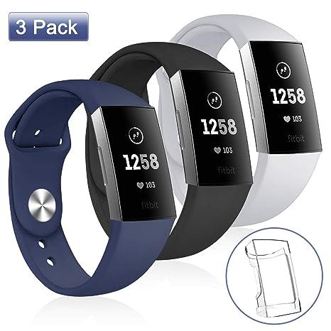 apiker Bracelet pour Fitbit Charge 3, Accessoire Fitbit Charge 3 Montre Bracelet Sport Réglable remplaçable