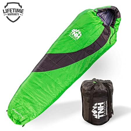 TNH Outdoors Sleeping Bag Mummy Lightweight Portable, Waterproof, Comfort with Compression Sack Great for 3 4 Season Camping Warm in Winter, Travelling, Hiking, Adult Outdoors Gear