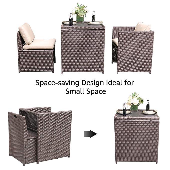 Amazon.com: SUNSITT - Juego de muebles de jardín de mimbre ...