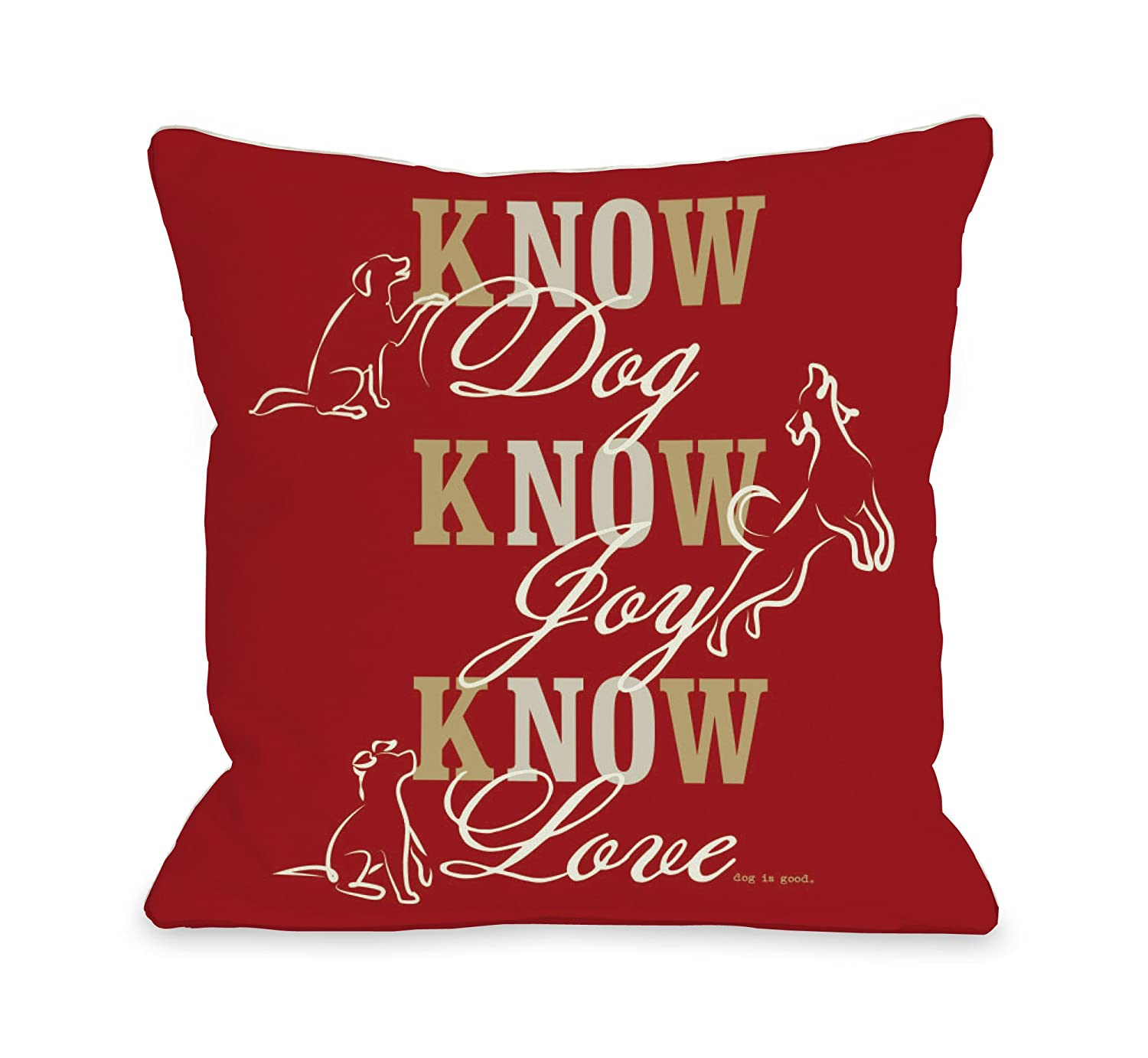 One Bella Casa Know Dog Throw Pillow, 18 by 18-Inch, Red