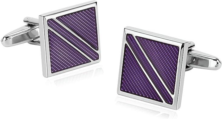 Blisfille 2 Pieza Joyas para Hombre Acero Gemelo Camisa Gemelos Zelda Joyas para Hombre Plata Gemelos de Negro Púrpura: Amazon.es: Joyería