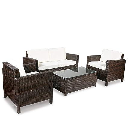 Amazon Com Merax 4 Piece Rattan Sectional Sofa Couch Loveseat
