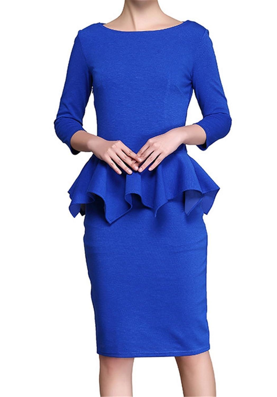 Fanessy Kleid Damen 2/3 Ärmel Knielang Business Bleistift Kleid Volant Vintage 50er Jahr Abendkleid Pareos und Strandkleider s Rock tunika damen Tops