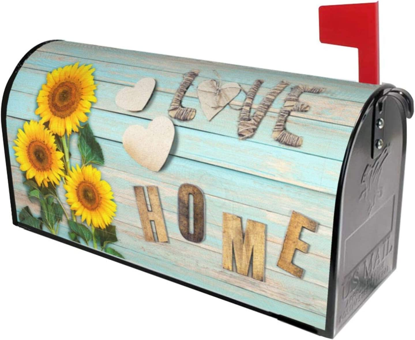 Granbey Retro Wooden Print Waterproof Magnetic Mailbox Cover Sunflower Dust-Proof Letterbox Covers Sweet Saying Love Home Sun Protection Polyester Fashion Post Box Covers Home Garden Decor 18 X 21