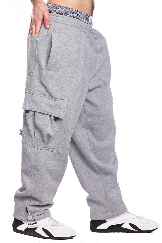 Mens Fleece Cargo Sweatpants, 3XL, Heather Grey