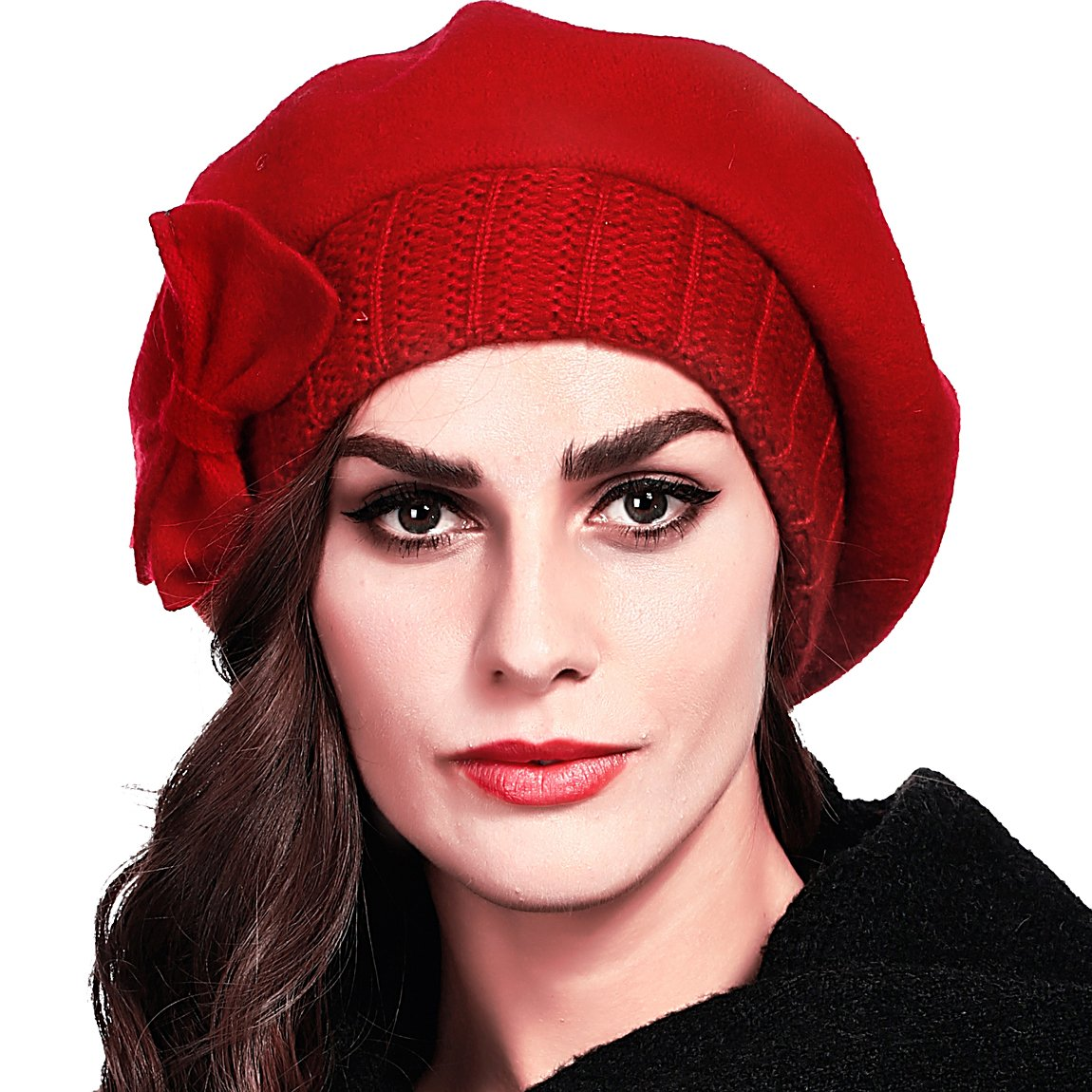 FORBUSITE Cute Womens 100% Wool Beret Knit Cap with Bow In 10 Colors HY022B-BK