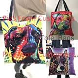CafeTime Cute Boston Terrier Pet Dog Printed Canvas Tote Female Single Shopping Bags Large Capacity Women Canvas Beach Bags Casual Tote Feminina 45x45cm