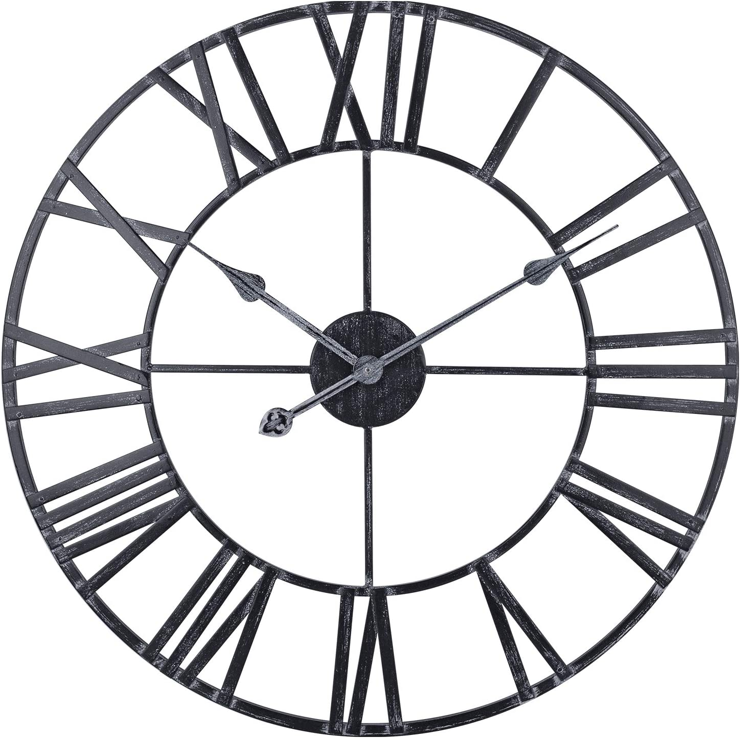 Decor Wall Clock, 24-Inch Vintage Country Metal Wall Clock with Roman Numerals, Large Silent Battery Operated Wall Clock for Home, Farmhouse, Living Room, Dining Room(Distressed Black)