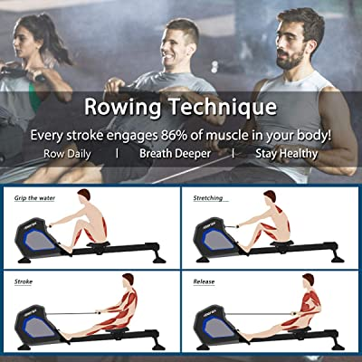 Merax Magnetic Exercise Rower Adjustable Resistance Rowing Machine (BK)