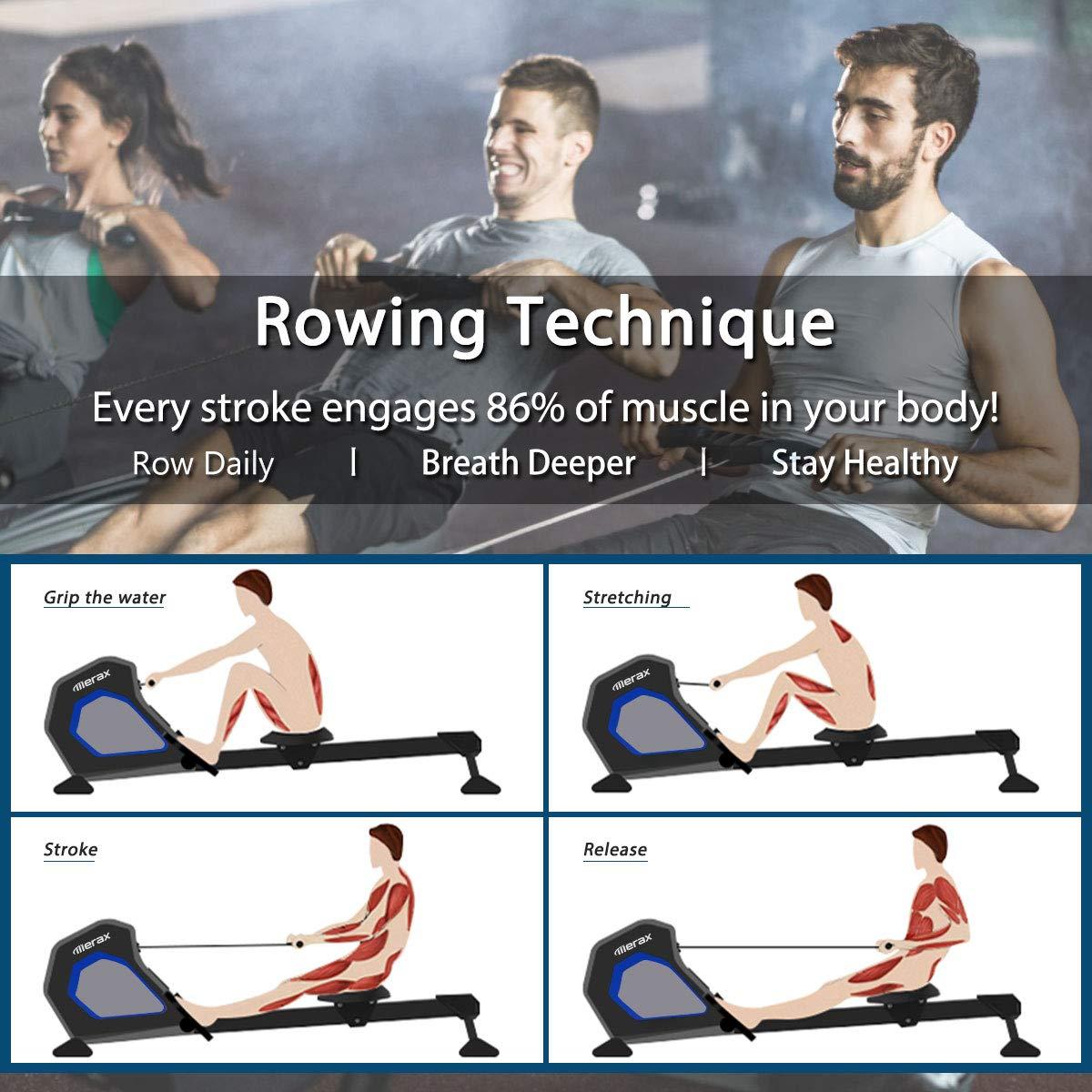 Merax Magnetic Exercise Rower Adjustable Resistance Rowing Machine (BK) by Merax (Image #4)