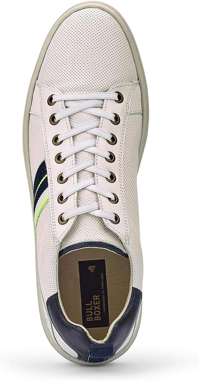 Bullboxer Homme Baskets Mode, Monsieur Chaussures de Sport Blanc White
