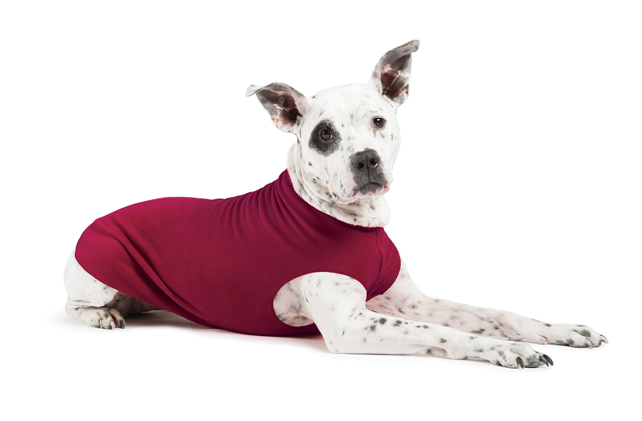 Gold Paw Stretch Fleece Dog Coat - Soft, Warm Dog Clothes, Stretchy Pet Sweater - Machine Washable, Eco Friendly - All Season - Sizes 2-33, Garnet, Size 12