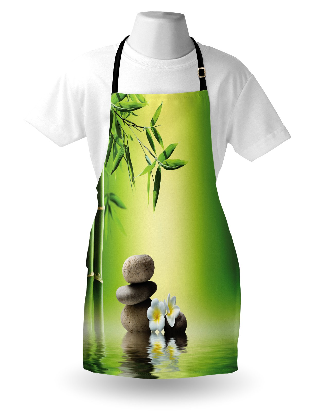 Lunarable Spa Apron, Japanese Therapy Relaxation Stones Frangipani Flowers Bamboo Tree Healthcare Theme, Unisex Kitchen Bib Apron with Adjustable Neck for Cooking Baking Gardening, Green Yellow by Lunarable (Image #3)