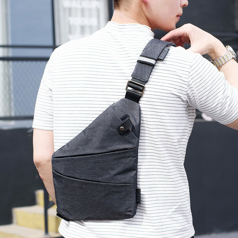 Right Shoulder Sling Backpack Men Chest Pack Polyester Messenger Bag Anti-theft Business Purseright) by WUYAN93 (Image #7)