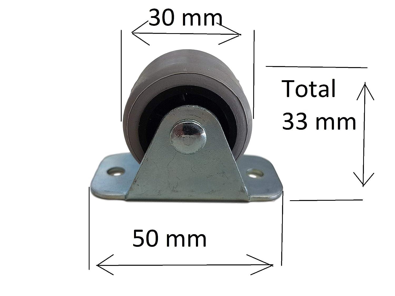 Lot de mini-roulettes de 30/mm en caoutchouc et plastique fix/ées sur une plaque pivotante en m/étal appareils /électro-m/énagers et /équipements Pour meubles