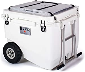 RovR Wheeled Camping Rolling Cooler with Wheels 80 qt (Powder)