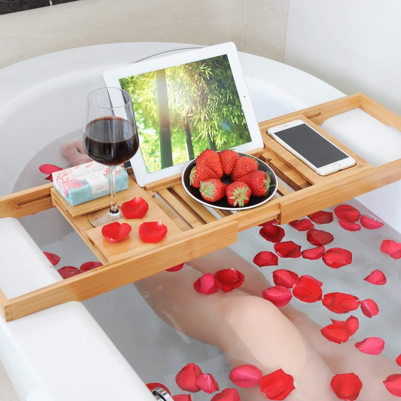 PREMIUM bamb/ú organizador de spa plegable y libros vinos de madera natural y ecol/ógica soporte para ba/ñeras para tabletas bamb/ú Bandeja de bamb/ú extensible smartphone de lujo