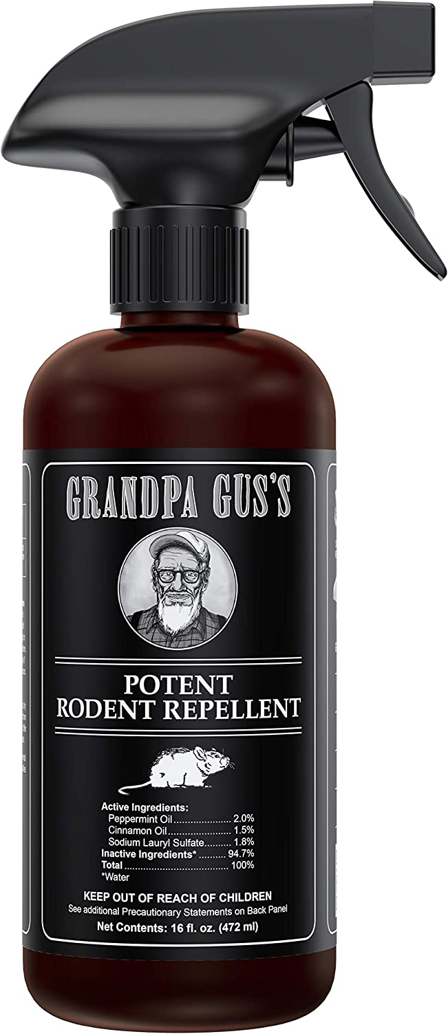Grandpa Gus's Double-Potent Rodent Repellent Spray; Peppermint & Cinnamon Oil, Prevents Mouse/Rats from Nesting, Chewing Wiring in Home/Shop/RV, Machinery, Stored Vehicles, Boat/Car Storage (16 Oz)