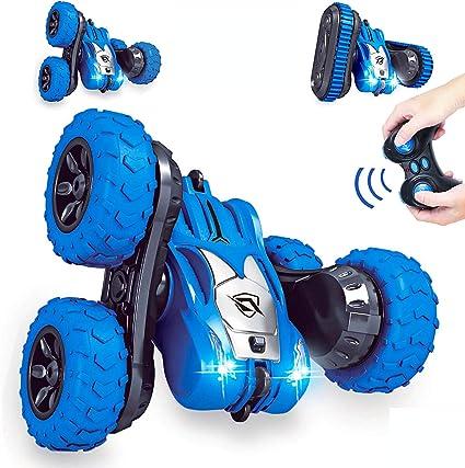 Kids 2 in 1 RC Car Speedy Rotate Flipping Stunt Car Remote Control Wheels Tracks
