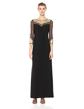 8a5c451f414 Alex Evenings Women s a-Line Dress with Embroidered Neckline and Illusion  Sleeves