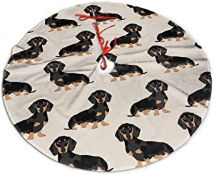TOLUYOQU Doxie Dachshund Weiner Dog Christmas Tree Skirt with Velvet Xmas Tree Skirt Mat for Christmas Decoration Party and Holiday Decor (36 inch)