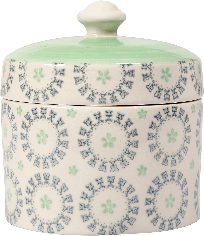 Sema 98756 Alice - Caja, cerámica, 12,2 x 12,2 x 12,2 cm, Color Verde y Blanco