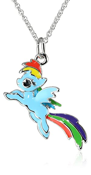 Amazon my little pony girls fine silver plated leaping my little pony girls fine silver plated leaping rainbow dash pendant necklace 18quot mozeypictures Images