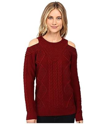 1ba965b58c3 Brigitte Bailey Women s French Cut Cable Knit Sweater Wine Sweater ...