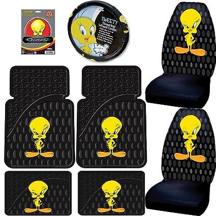 Amazon Tweety Bird W Attitude 7pc Combo Set Front Rear Floor Mats Seat Covers Steering Wheel Cover Plus Bonus Matching Decal Automotive