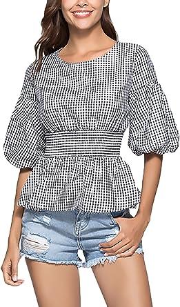 Blusas De Mujer Cuadros Camisas Cuello Redondo Manga Niñas Ropa Linterna Slim Fit Casual Classic Tops Camisa Verano: Amazon.es: Ropa y accesorios