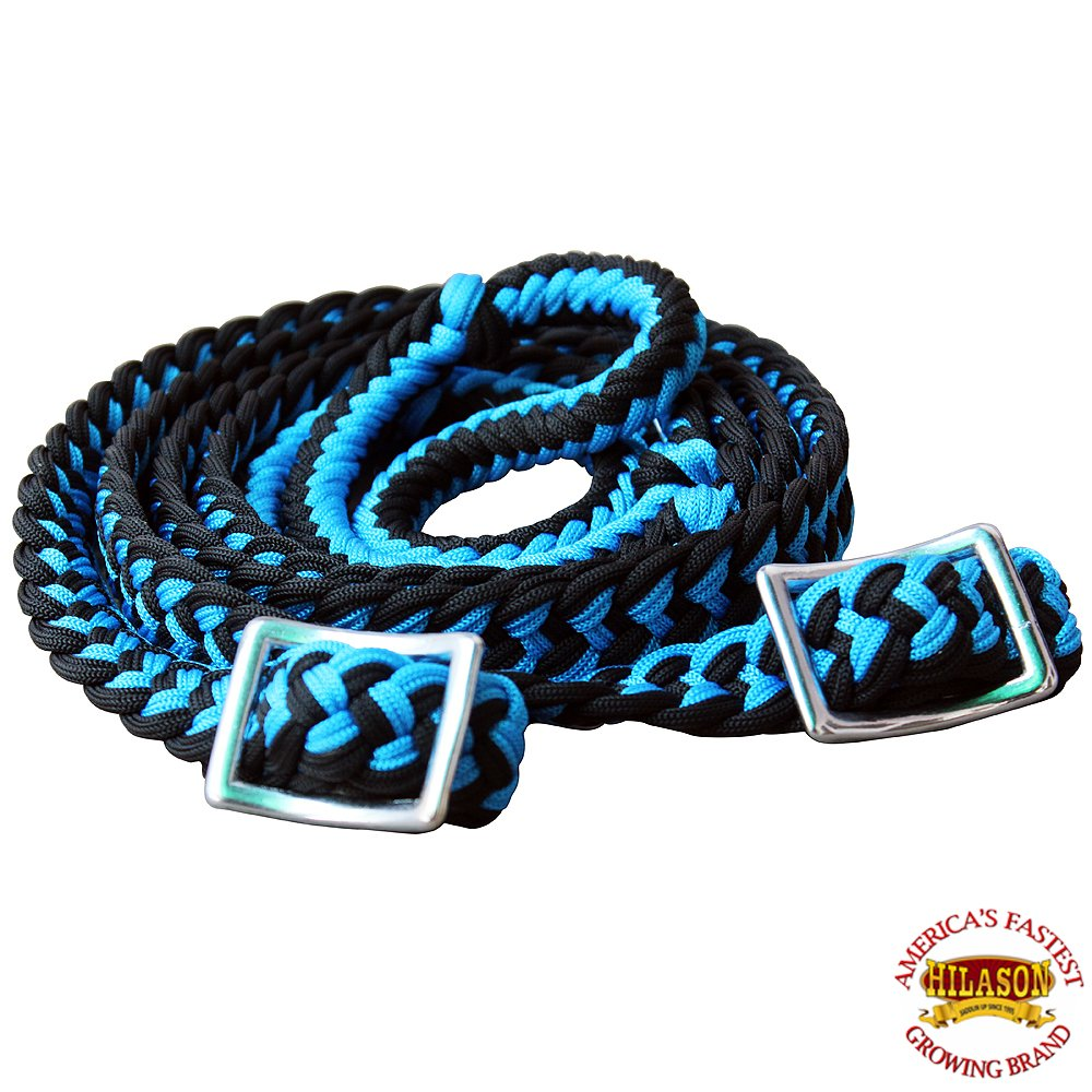 HILASON Horse Headstall Breast Collar Halter Reins Tack Braided Paracord Blue