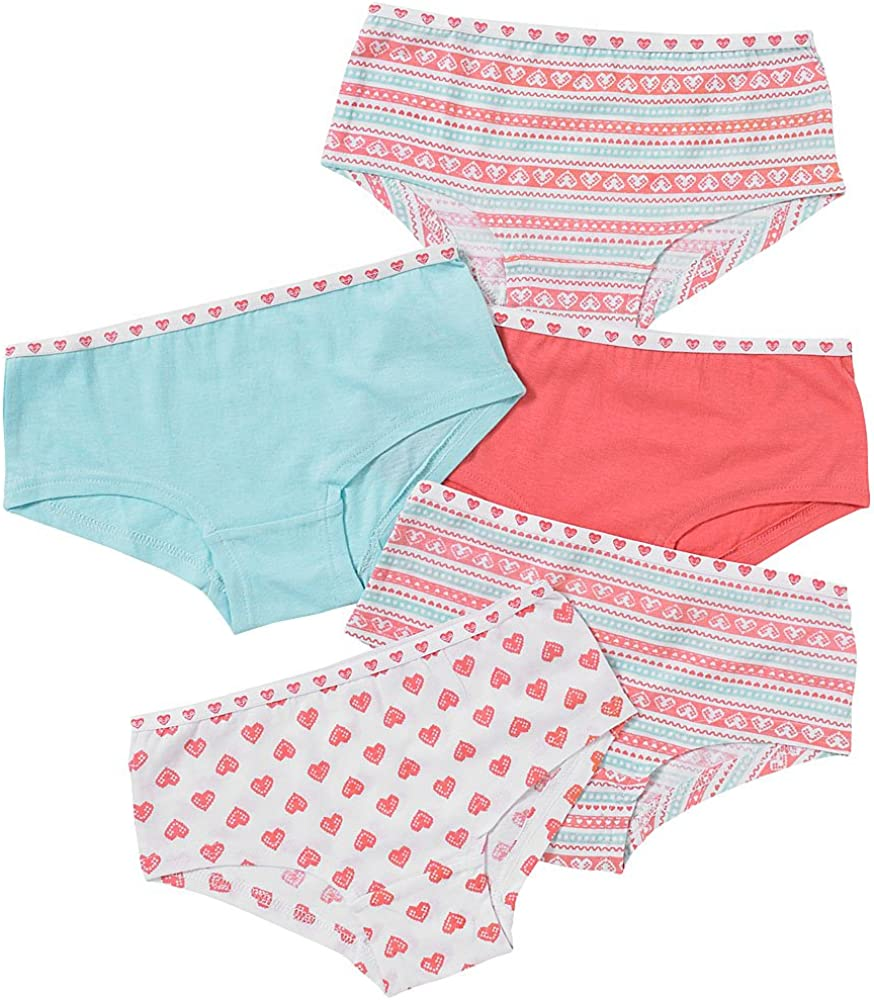 Just Essentials Girls Back to School 5 Pack Cotton Hearts Print Hipster Briefs