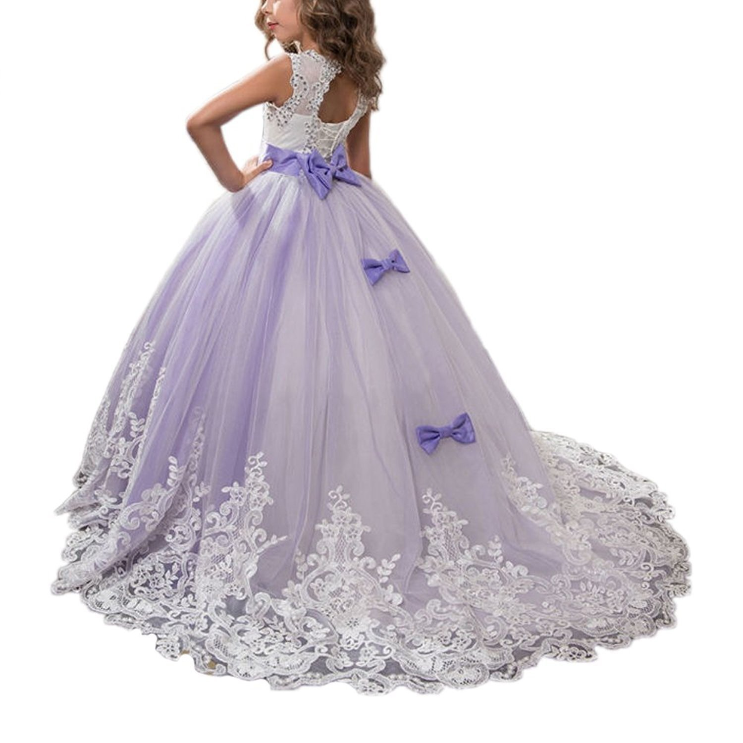 Amazon.com: Portsvy Lace Princess Long Girls Pageant Dresses Kids Prom Puffy Tulle Ball Gown: Clothing