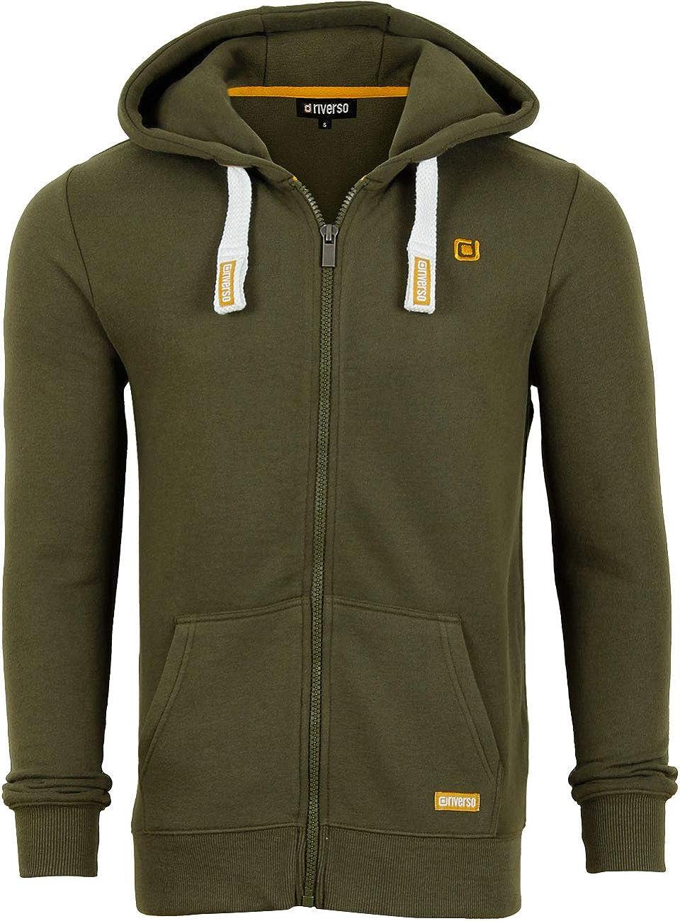 Black Plain 4XL Hoodie 5XL Green Sweat Jacket Red Basic Grey Sweatshirt XL M riverso Noah Mens Hooded Jacket Brown Blue with Zip L 2XL Cotton S 3XL