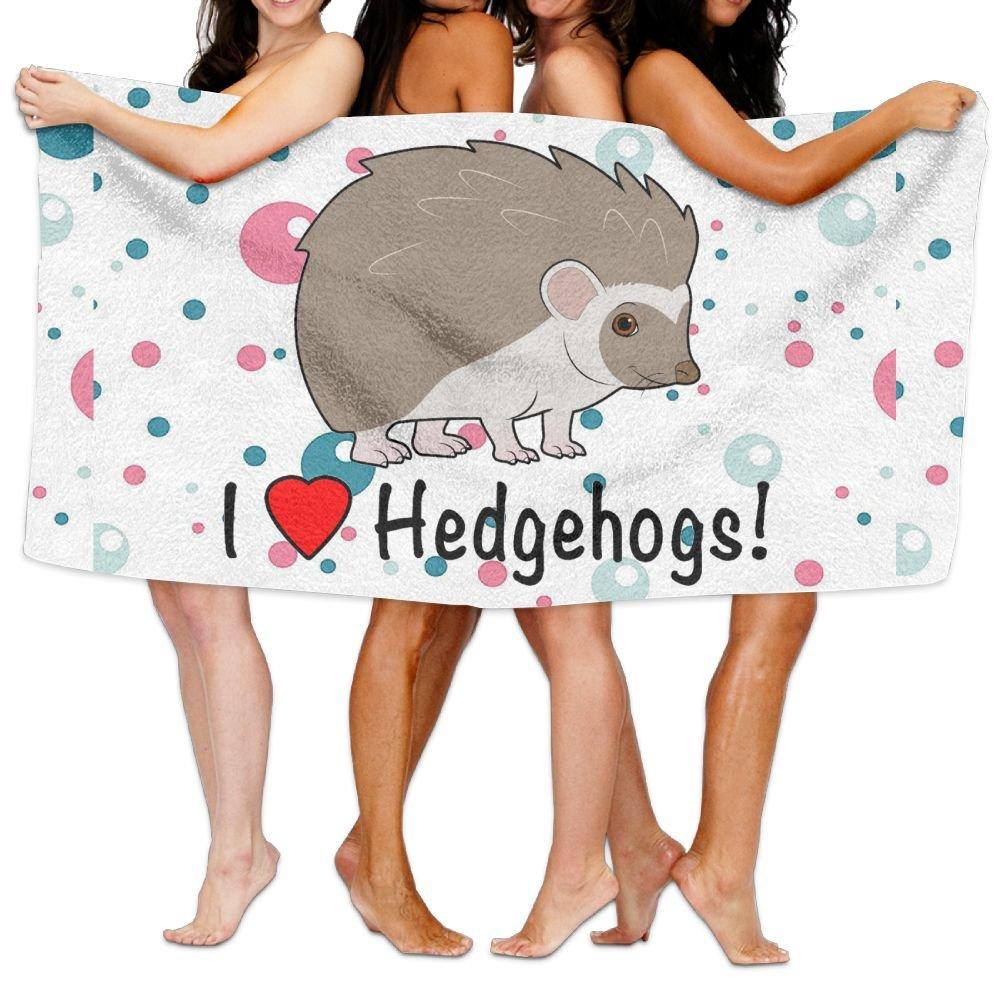 Dianqusha I Love Hedgehogs Women's Adjustable Microfiber Plush Spa Bath Shower Wrap For College Dorms, Pools, Gyms, Beaches, Locker Rooms, Bathroom