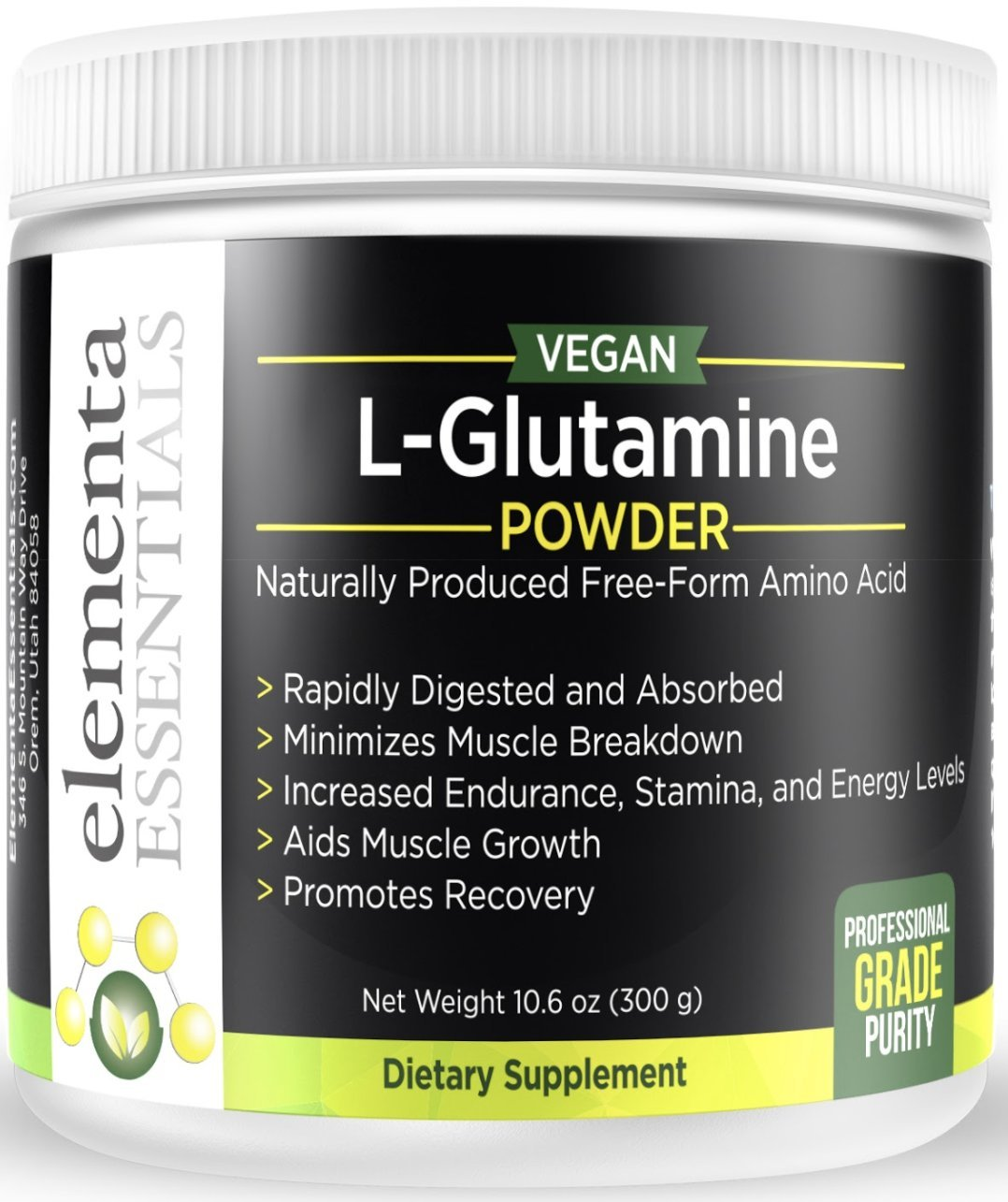 Pure Micronized L Glutamine Powder 5000mg Serving Highly Concentrated 300 Grams Recover from Workouts Retain Muscle Mass Support Gut Health 100 unflavored Freeform L-Glutamine no additives