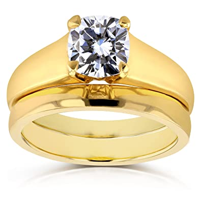 aed784cd768c2 Diamond Classic Solitaire Bridal Set 1 Carat in 14k Yellow Gold  Kobelli   Amazon.co.uk  Jewellery