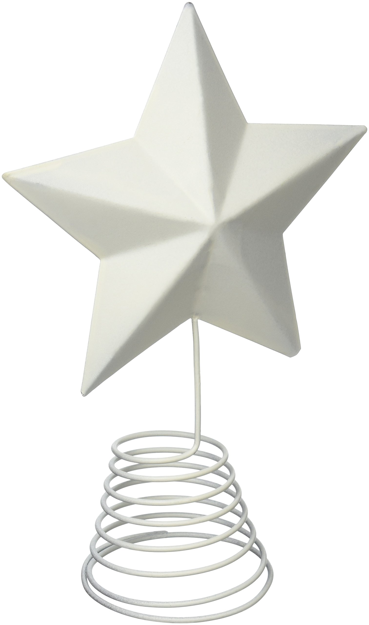 Craft Outlet Tin Star on Wire Table Topper, 12.5-Inch, Off-White, Set of 2