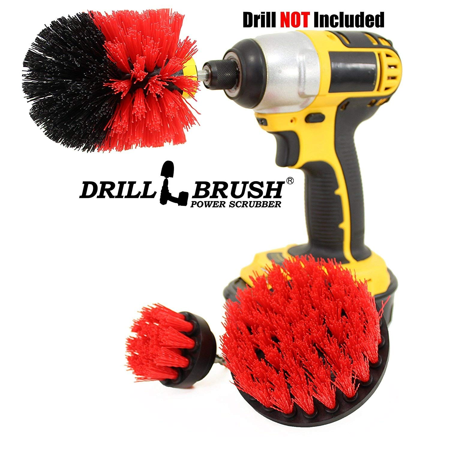 Drillbrush Bathroom Surfaces Tub, Shower, Tile Grout All Purpose Power Scrubber Cleaning Kit Yellow-Orig-Yel-2-4-Lim-Short