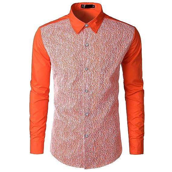 Yvelands Camisa de Encaje de Hombre, Camisa de Manga Larga de Corte Slim Casual de