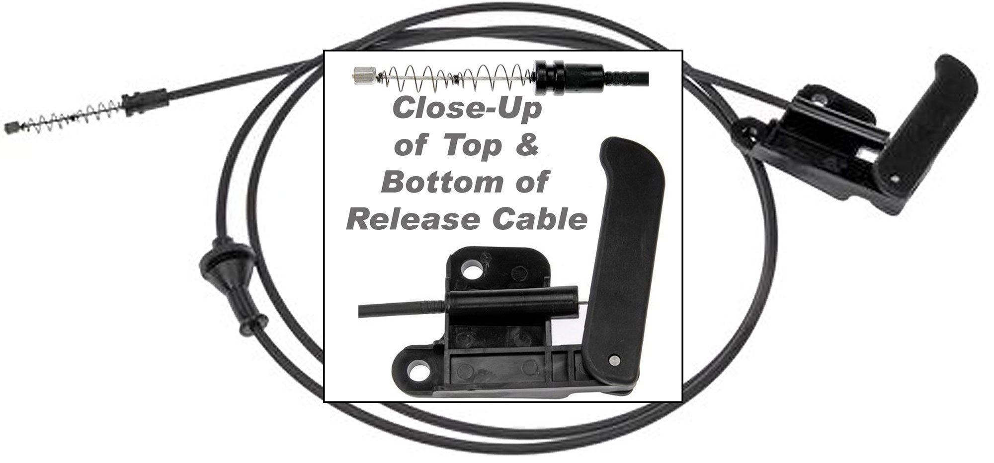 APDTY 023185 Hood Release Cable with Handle For 2002-2004 Chevy S10 Pickup / 2002-2005 Chevy S10 Blazer / 2002-2004 GMC S15 Sonoma Pickup (Replaces GM Part #: 15097973)