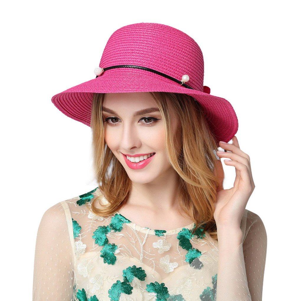 ACMEDE Women Straw Hats Anti UV Flowers Boho Summer Beach Cap