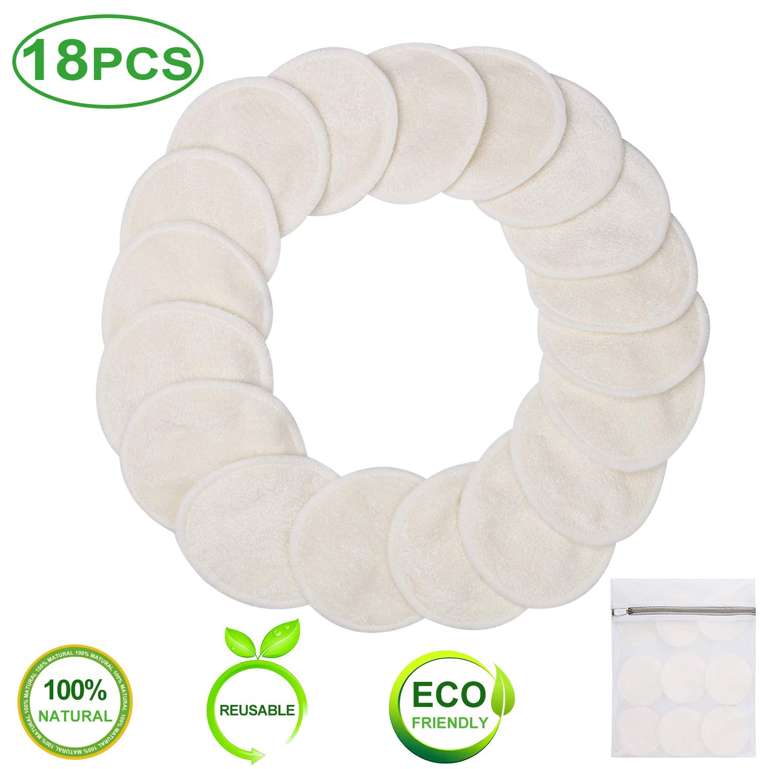 Reusable Makeup Remover Pads -18 Packs Washable Organic Cotton Rounds - Soft Natural Bamboo Face Pads - 2 Layers Facial Pads Cleansing Wipe Cloth with Laundry Bag (Bamboo Velour)